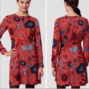 Loft Red Floral Primavera Shirt Dress Sz 12